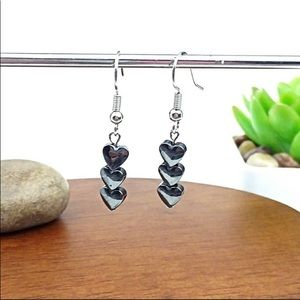 NEW!🔥 Black Hematite Heart Bead Silver Earrings